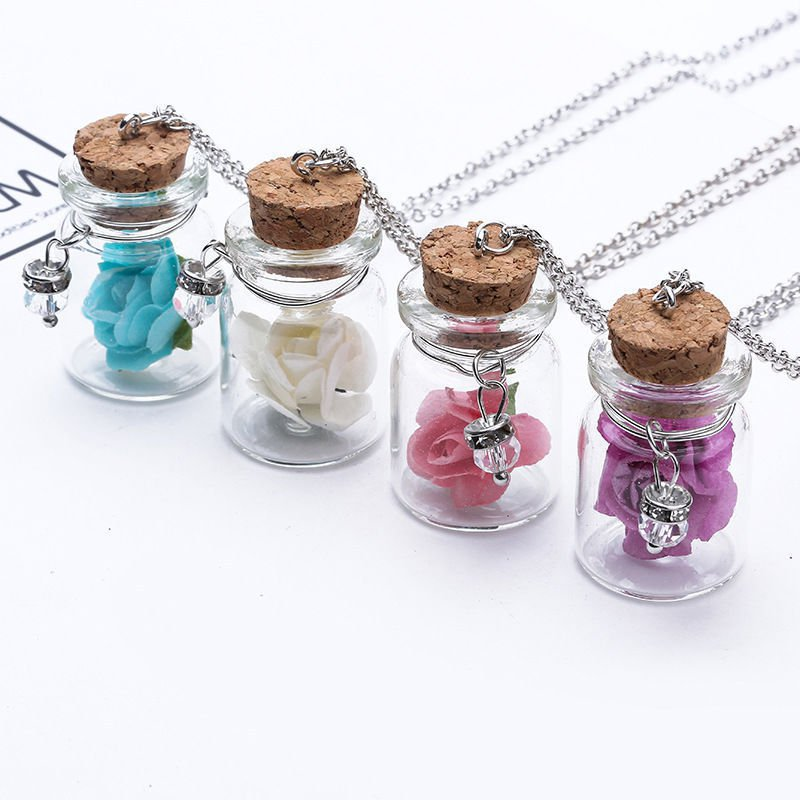Hot Beach Wishing Bottles Necklace Glass Bottle Necklaces Rose Flower Pendants