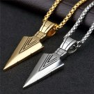 Men Gold or Silver Plated Arrow head Pendant Long Chain Necklace Fashion Jewelry