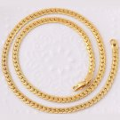 """20"""" Yellow Gold Plated Curb Cuban Chain Necklace 5mm Thick Men's Women Jewelry"""
