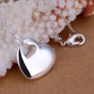 Cute Silver Heart Center Pendant Silver Plated Necklace Fashion Jewelry