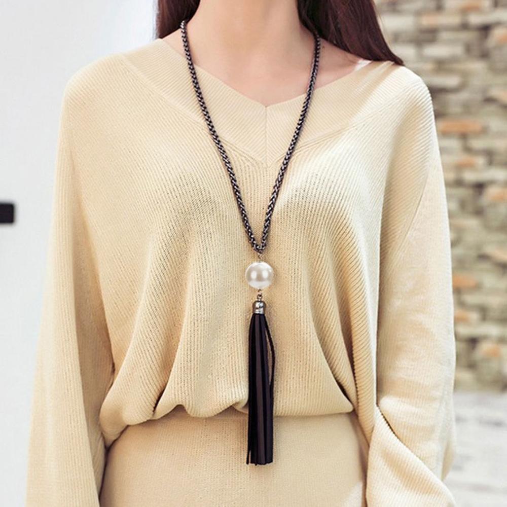 USA Women Fashion Tassel Pendant Sweater Chain Long Beads Necklace Jewelry Gift