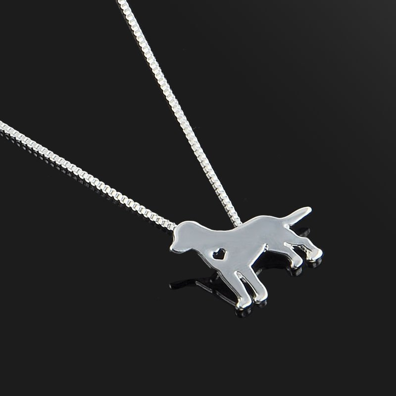 Silver Pet Dog Puppy Border Collie Charm Pendant Necklace Women Fashion Gift
