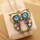 Women Vintage Colorful Rhinestone OWL Pendant Bronze Long Chain Necklace US