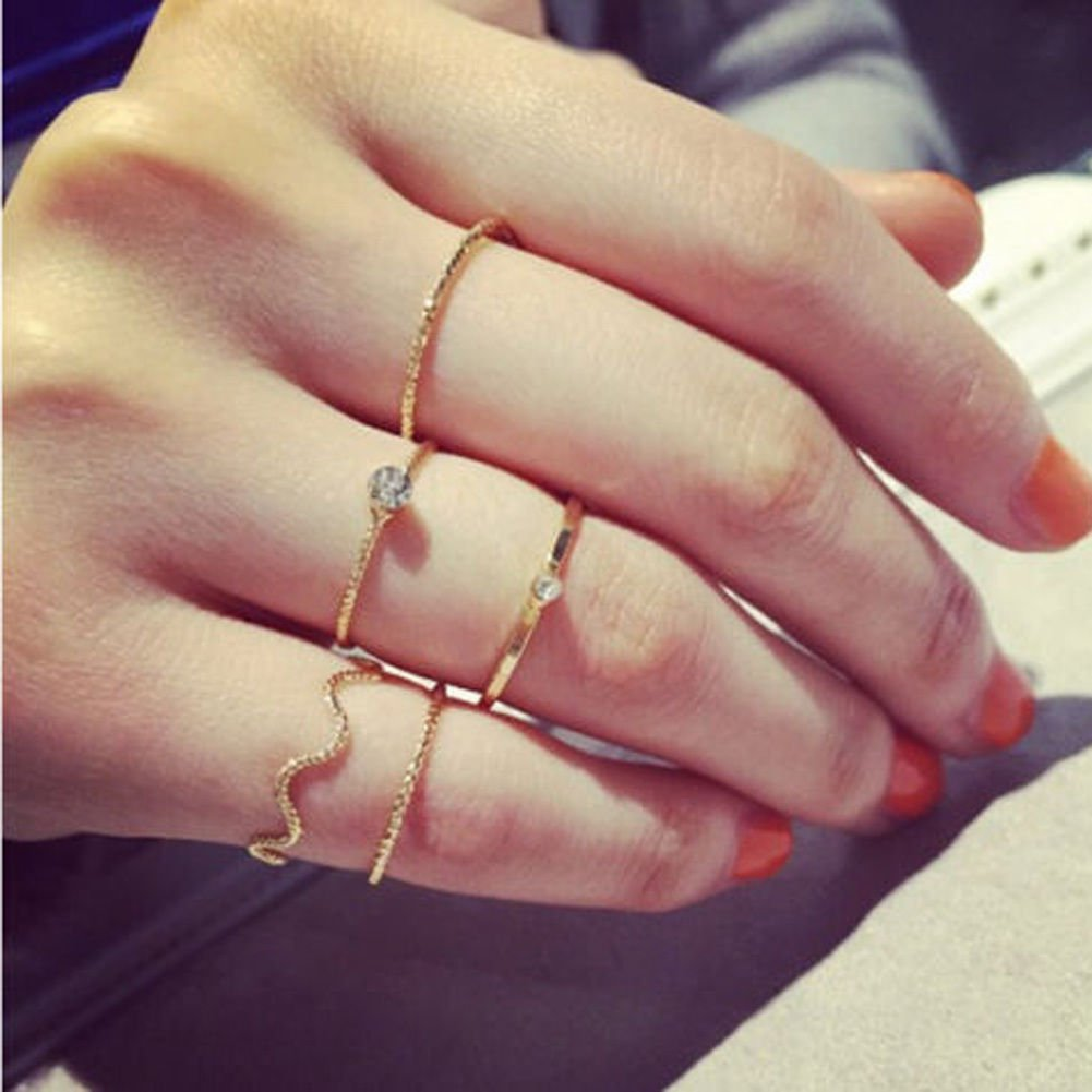 5Pcs Set Gold Silver Woman Stack Crystal Cute Above Knuckle Band Midi Ring