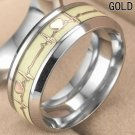 Glow in the Dark Gold Heartbeat Ring Titanium Stainless steel Silver Ring Band
