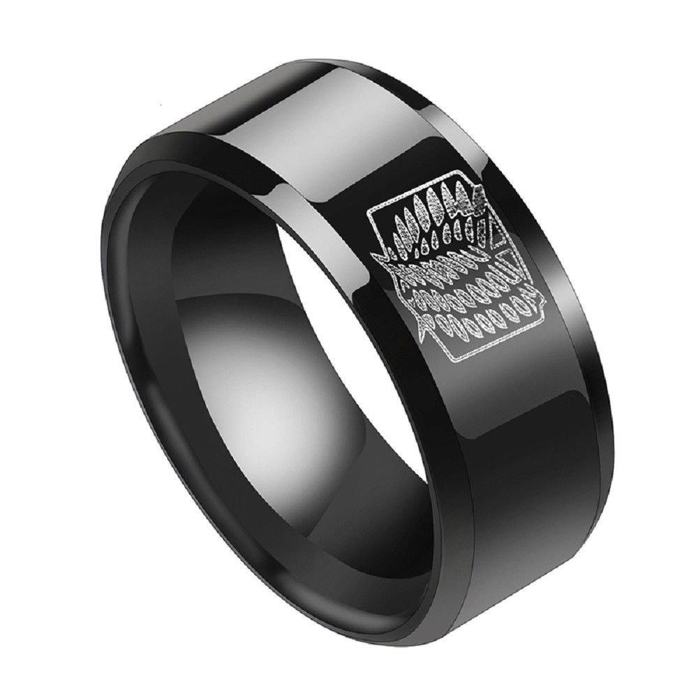 8mm Anime Attack On Titan Black Ring Giant Legion Flag Stainless Steel Ring