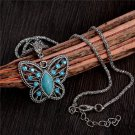 USA Blue Crystal Turquoise Charm Butterfly Pendant Necklace Silver Chain Jewelry