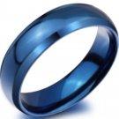 6mm Blue Ring Titanium Steel Men Women Engagement Promise Ring Band
