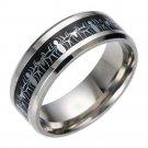 Black Carbon Fiber Silver Spiderman Ring 316L Titanium Steel Silver Ring Band
