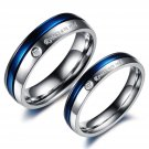 2pcs Blue and Silver Titanium Steel Couple Ring Promise Engagement Wedding Rings