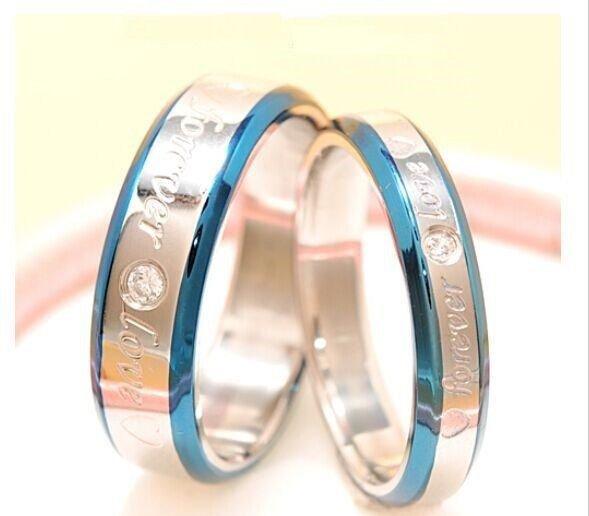 2pcs Blue Edges Forever Love Stainless Steel Couple Ring Promise Wedding Rings