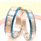 2pcs Blue Edges Forever Love Stainless Steel Couple Ring Promise Wedding Rings
