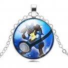 Silver Chain Cabochon Glass Pokemon Lucario Necklace Pokemon Pokeball Pendant