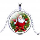 Christmas Necklace Silver Chain Cabochon Glass Santa Claus Chain Holiday Gift