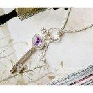 Elegant Heart Crown Key Purple Crystal Rhinestone Necklace Pendant Long Chain