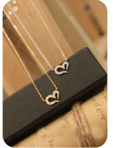 2x Love Heart Shape Pendant Chain Fashion Rhinestone Women Jewelry Necklace