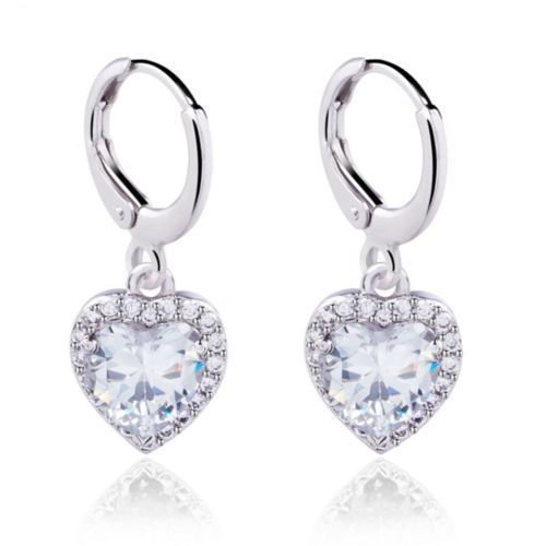 White Gold Plated Heart Shape Zircon White Crystal Hoop Wedding Earrings