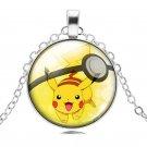 Pokemon Silver Chain Cabochon Glass Pikachu Necklace Pokemon Pokeball Pendant