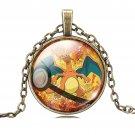 USA Pokemon Brown Chain Cabochon Glass Charizard Pokemon Pendant Necklace