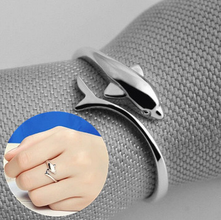 2pcs 925 Sterling Silver Plated Ring Silver Dolphin Open Adjustable Ring Jewelry