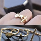 Three Piece Rings Beauty Retro Heart-shaped Five-pointed Star Cross Midi Ring