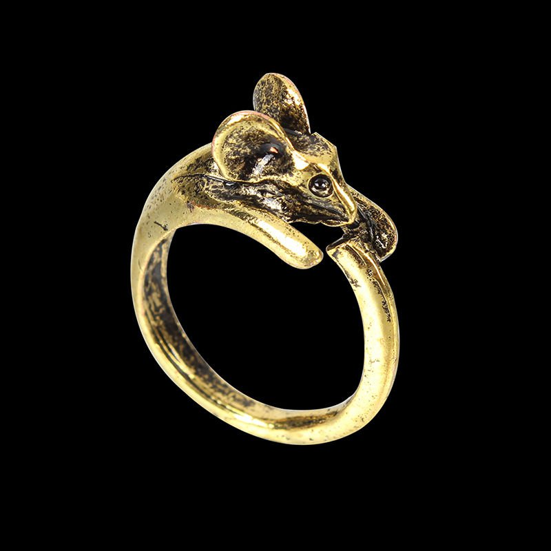 2x Adjustable Vintage Style Gold Plated Mice Mouse Animal Jewelry Open Ring