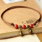 Women Ladies Tibetan Bronze Turquoise Beads Rope Anklet Foot Ankle Bracelet