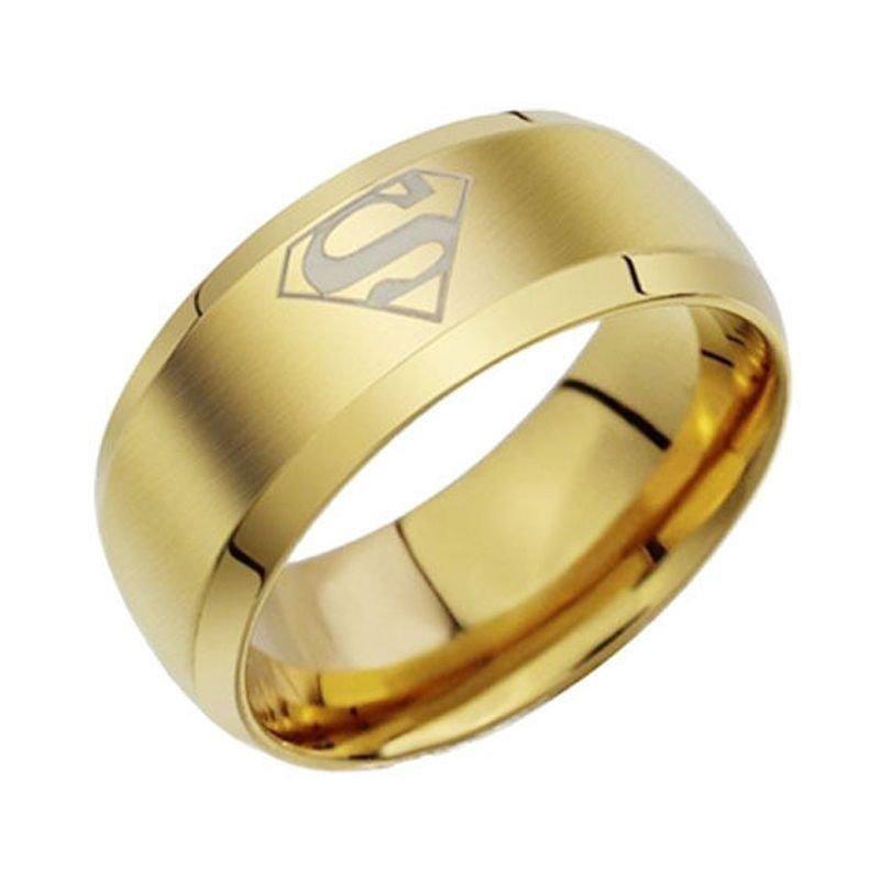 8mm Superman Gold Titanium Steel Men His Promise Engagement Ring Band Size 6-13