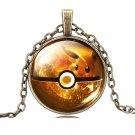 USA Bronze Chain Cabochon Glass Pokemon Eevee Necklace Pokeball Pendant