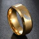 Gold Philadelphia Eagles Stainless Steel Digital Engraved Football Ring Band