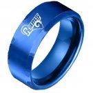 Blue Los Angeles Rams Stainless Steel Digital Engraved Men Football Ring Band