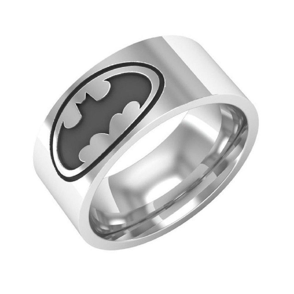 8mm Batman Logo Ring Men Comfort Fit 316L Stainless Steel Ring Band