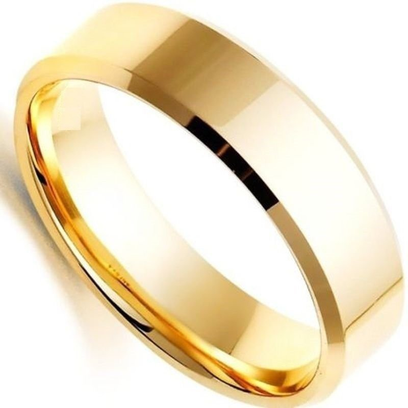 6mm Men Women Titanium Steel Ring Plain Gold Engagement Wedding Band