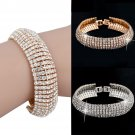Womens Sparkling Crystal Rhinestone Cuff Bangle Bracelet Wedding Jewelry Gifts