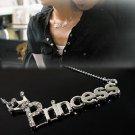 Women Charm Silver Plated Charm Princess Letter Crown Necklace Pendant