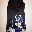 Semantiks sleeveless dress black with blue, pink, white floral print sz 4 EUC