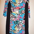 Nicole Miller shift dress bold butterfly print with black size M NWT