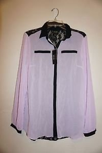 Nicole Miller womens blouse lilac with black lace back size small NWT