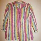 I.E. Relaxed women's long-sleeve button-front shirt multicolor stripes sz 1X EUC
