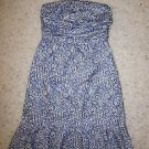 The Limited strapless dress ivory and blue swirl pattern ruched top size 2 NWT