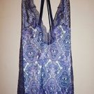 Victoria's Secret gown chemise white w/ blue purple paisley & blue lace sz M NWT