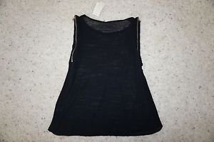 Townsen sheer black sleeveless top with zipper closure at arm holes size S NWT
