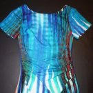 Tracy Reese gathered waist dress sz 4 blue ikat print with multi-color bands NWT