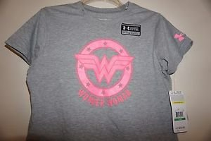 Girls Under Armour gray shirt with bright pink Wonder Woman size L NWT
