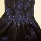 Romeo & Juliet Couture strapless dress sz XS fit & flare black/metallic blue NWT