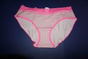 Victoria's Secret lace-waist brief size M white pattern pink trim NWT