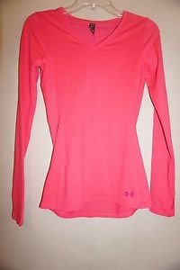 Womens Under Armour Cold Gear Infrared V-neck long-sleeve shirt hot pink S NWT