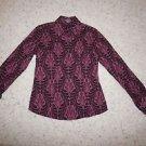Ann Taylor long-sleeve blouse shirt magenta purple mauve pattern size O EUC