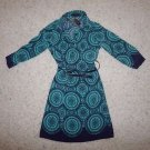 The Limited t-shirt dress size XS turquoise teal & navy print with navy belt NWT