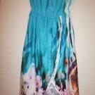 Victoria's Secret strapless tulip hem dress turquoise cityscape print sz XS NWOT